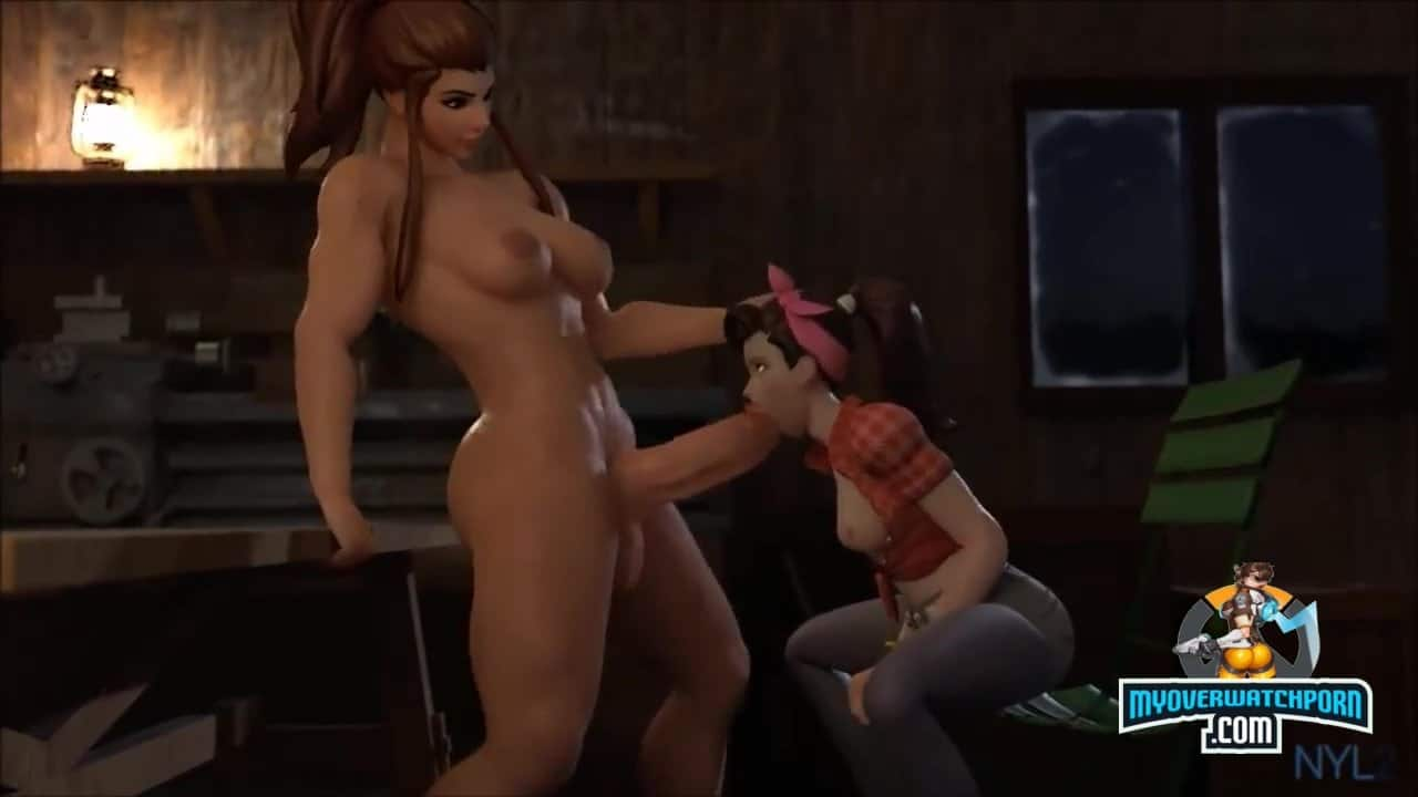 D.VA gives awesome blowjob to Brigitte